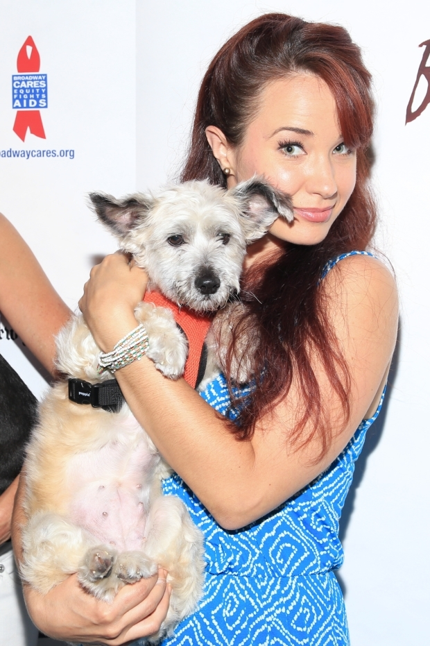 <p><em>School of Rock</em>&#39&#x3B;s Sierra Boggess has a great time with this little pup.</p><br />(© Tricia Baron)