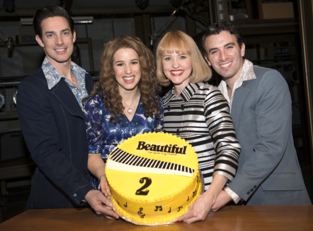 <p>Scott J. Campbell, Chilina Kennedy, Anika Larsen, and Jarrod Spector show off their beautiful <em>Beautiful</em> cake.</p><br />(© Allison Stock)