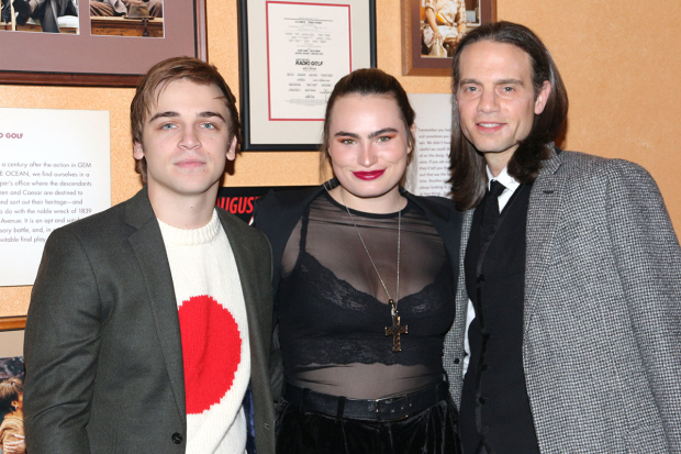 <p>Sean Grandillo, Kathryn Gallagher, and Jordan Roth pose together.</p><br />(© David Gordon)