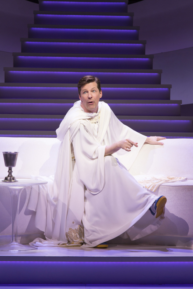 <p>Sean Hayes takes on the title role in Broadway&#39&#x3B;s <em>An Act of God</em>.</p><br />(© Jim Cox)