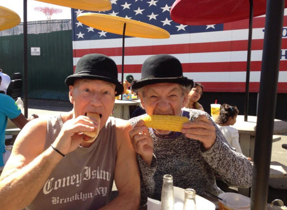 <p>September 25 – Sir Patrick and Sir Ian enjoy a fortifying meal at Nathan&#39&#x3B;s.</p><br />(Photo via @SirPatStew)