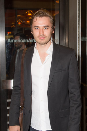 <p>Seth Numrich is first to arrive on opening night.</p><br />(© Seth Walters)