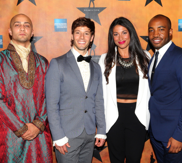 <p>Seth Stewart, Thayne Jasperson, Stephanie Klemons, and Austin Smith are proud to be in the <em>Hamilton</em> ensemble.</p><br />(© David Gordon)