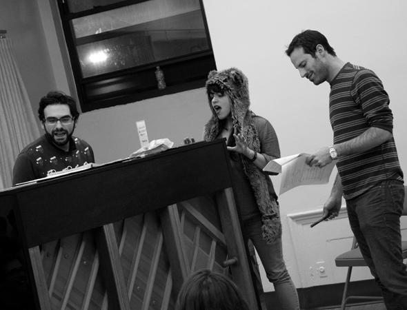 <p>Setting up the scene with Joe Iconis, Katrina Rose Dideriksen, and Lance Rubin.</p><br />(© David Gordon)