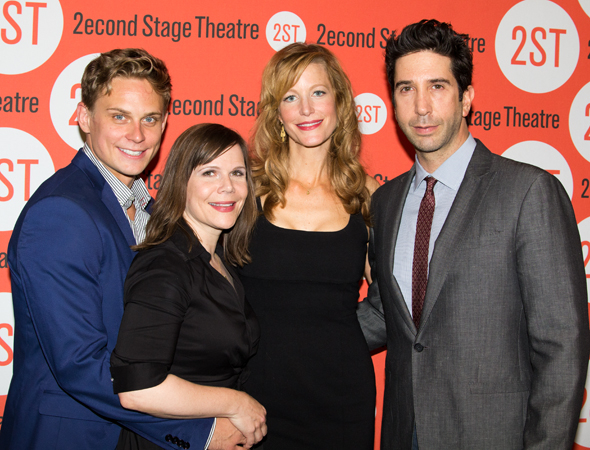 <p><em>Sex With Strangers</em> stars Billy Magnusson (left) and Anna Gunn (center) with playwright Laura Eason (second from left) and director David Schwimmer (right).</p><br />(© Seth Walters)