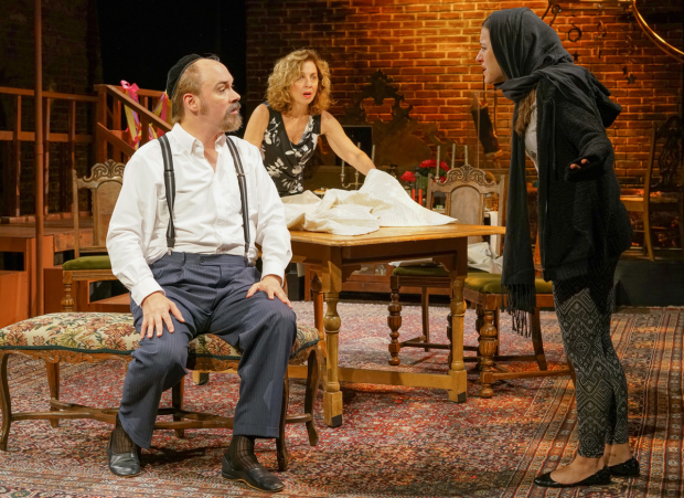 <p>Shane Baker (Yankl), Eleanor Reissa (Sarah), and Shayna Schmidt (Rifkele) star in Sholem Asch&#39&#x3B;s <em>God of Vengeance</em> at La MaMa.</p><br />(© Ronald L. Glassman)