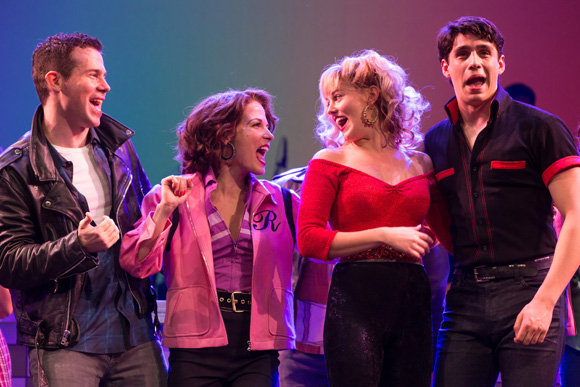 <p>Shane Donovan, Morgan Weed, Taylor Louderman, and Bobby Conte Thornton make a fabulous foursome in <em>Grease</em> at Paper Mill Playhouse.</p><br />(© Matthew Murphy)
