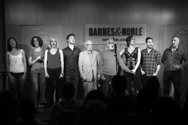 <p><em>She Loves Me</em> creators Sheldon Harnick and Joe Masteroff (center), and costume designer Jeff Mahshie (right), join the cast for a song.</p><br />(© Tricia Baron)