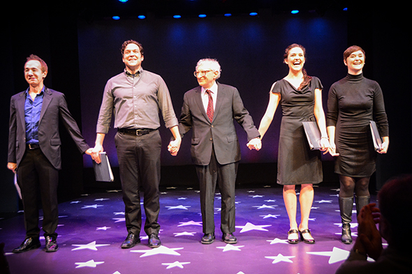 <p>Sheldon Harnick (center) bows with (from left) Jason Graae, Aaron Serotsky, Kerry Conte, and Rhyn McLemore.</p><br />(© Nessie Nankivell)