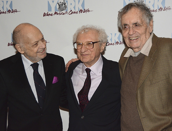 <p>Sheldon Harnick (center) is joined for a photo by <em>Annie</em> composer Charles Strouse (left) and playwright Sherman Yellen (right).</p><br />(© Nessie Nankivell)