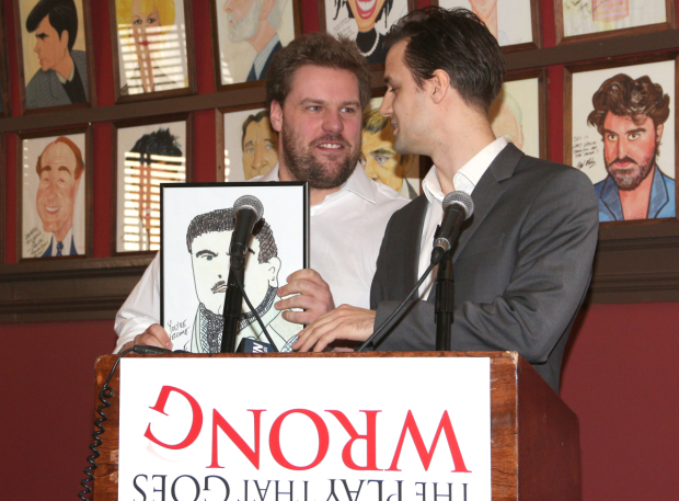 <p>Shields is interrupted by Henry Lewis, who shows off a caricature he intends to put up at Sardi&#39&#x3B;s.</p><br />(© David Gordon)