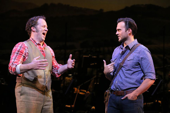 <p>Shuler Hensley and Cheyenne Jackson make a dynamic onstage duo.</p><br />(© Joan Marcus)