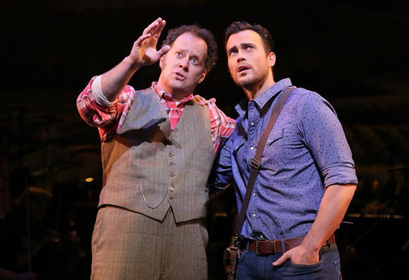 <p>Shuler Hensley and Cheyenne Jackson take the stage.</p><br />(© Joan Marcus)