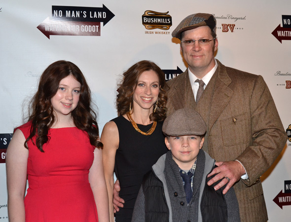 <p>Shuler Hensley, who appears as Briggs in <em>No Man&#39&#x3B;s Land</em> and as Pozzo in <em>Waiting for Godot</em>, celebrates his opening with his beautiful family.</p><br />(© David Gordon)