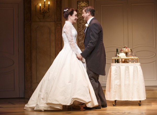 <p>Sierra Boggess and David Burtka play Rebecca and Brian, the bride and groom.</p><br />(© Joan Marcus)