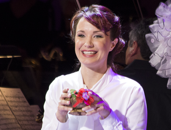 <p>Sierra Boggess plays Sister Sarah Brown, missionary at the Save-a-Soul Mission.</p><br />(© David Gordon)