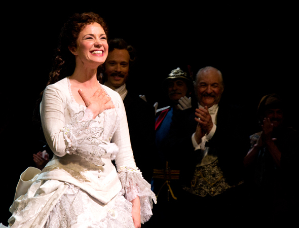 <p>Sierra Boggess shows her appreciation for the applause.</p><br />(© David Gordon)