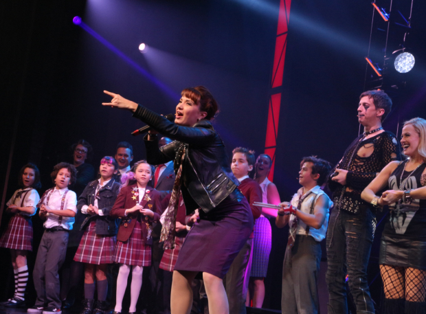 <p>Sierra Boggess shows off her punk rock side during the show&#39&#x3B;s curtain call.</p><br />(© David Gordon)