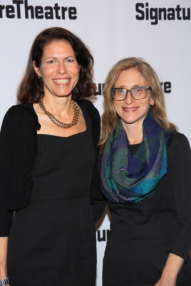 <p>Signature Theatre artistic director Paige Evans celebrates the opening with executive director Erika Mallin.</p><br />(© Tricia Baron)