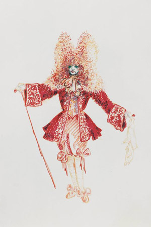 <p>Silver sketched all of the hats and costumes for every character in <em>Beach Blanket Babylon</em> production. He used sketches, including this one of King Louis — to express his vision of the show.</p><br />(courtesy of the show)