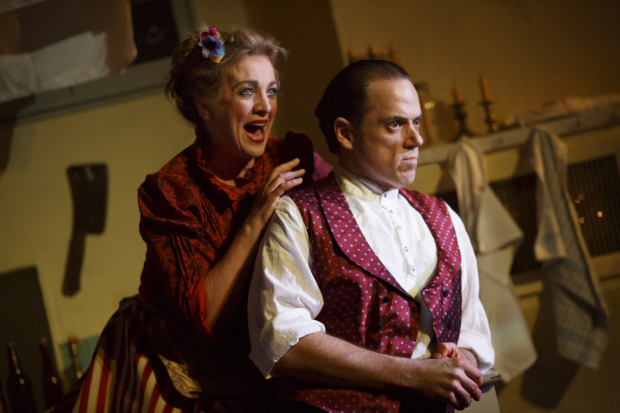 <p>Siobhán McCarthy as Mrs. Lovett with Jeremy Secomb as Sweeney Todd.</p><br />(© Joan Marcus)