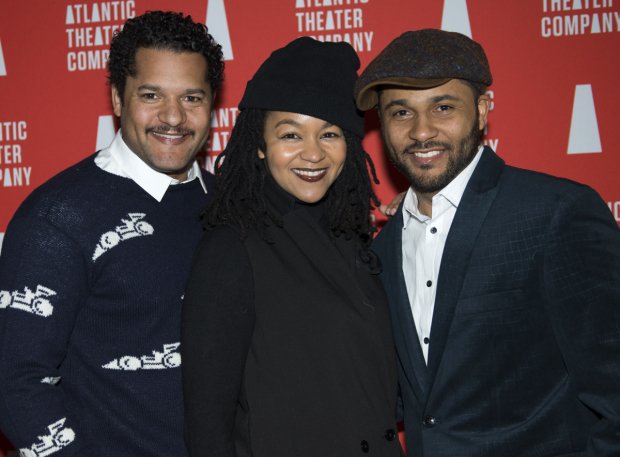 <p><em>Skeleton Crew</em> cast member Jason Dirden (right) shares his opening with his brother, Brandon Dirden, and sister-in-law, Crystal A. Dickinson.</p><br />(© Allison Stock)