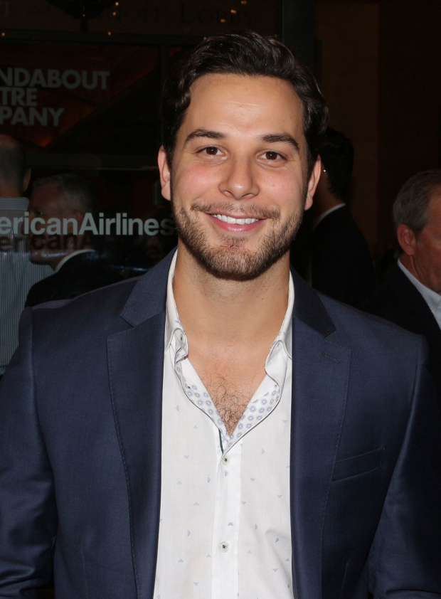 <p>Skylar Astin is proud to cheer on his wife, <em>Time and the Conways</em> star Anna Camp.</p><br />(© David Gordon)