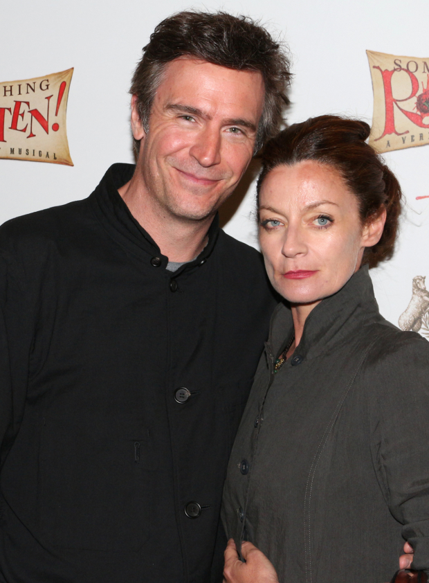 <p><em>Smash</em> cast member Jack Davenport arrives for the show with his wife, Michelle Gomez.</p><br />(© David Gordon)