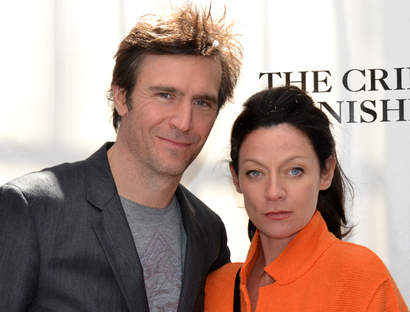 <p><em>Smash</em> star Jack Davenport and his wife, actress Michelle Gomez, are ready for an afternoon at the theater.</p><br />(© David Gordon)