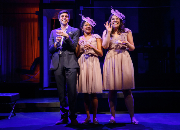 <p>Smiles all around from Gideon Glick, Rebecca Naomi Jones, and Lindsay Mendez.</p><br />(© Joan Marcus)