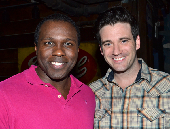 <p>Soldier pals Joshua Henry and Colin Donnell smile for the camera after the concert.</p><br />(© David Gordon)