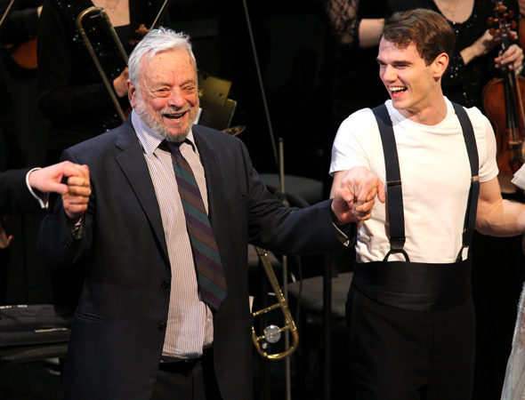 <p>Sondheim is visibly thrilled as he bows.</p><br />(© David Gordon)