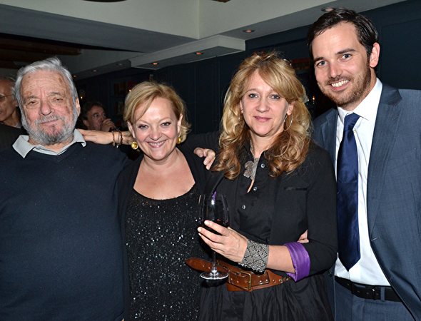 <p>Sondheim poses alongside his director, Maria Friedman, producer, Sonia Friedman, and Digital Theatre co-founder/executive producer Tom Shaw.</p><br />(© David Gordon)