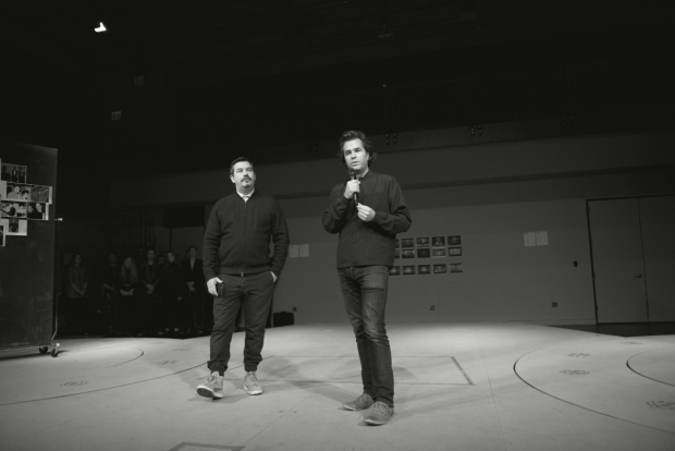 <p>Songwriter Duncan Sheik and director Rupert Goold introduce <em>American Psycho</em> to the press.</p><br />(© Allison Stock)