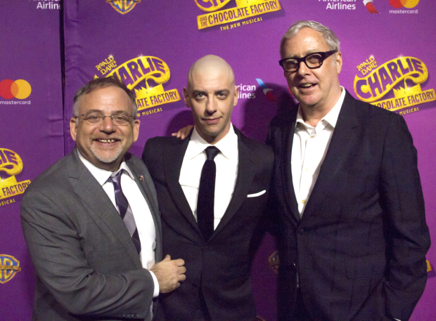 <p>Songwriters Marc Shaiman and Scott Wittman celebrate with their leading man.</p><br />(© David Gordon)
