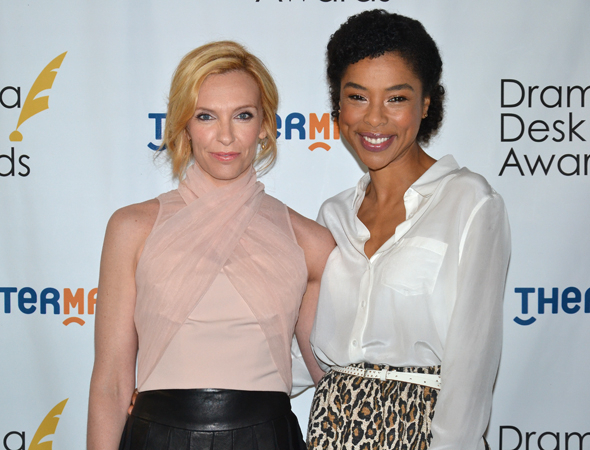 <p>Special award winner Toni Collette (<em>The Realistic Joneses</em>) with Outstanding Featured Actress in a Play nominee Sophie Okonedo (<em>A Raisin in the Sun</em>).</p><br />(© David Gordon)