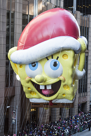<p>SpongeBob Squarepants is next, wearing a Santa hat.</p><br />(© David Gordon)