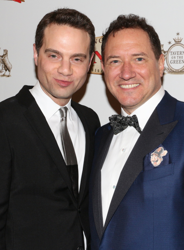 <p>St. James Theatre owner Jordan Roth congratulates <em>Something Rotten!</em> producer Kevin McCollum on his opening night.</p><br />(© David Gordon)
