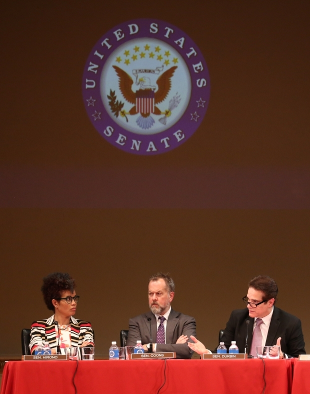 <p>Staceyann Chin appeared as Senator Hirono, David Costabile as Senator Coons, and Yul Vazquez as Senator Durbin.</p><br />(© Joan Marcus)