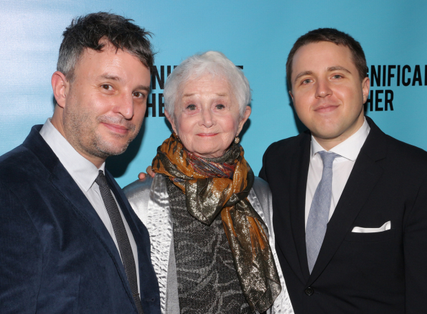 <p>Stage and screen vet Barbara Barrie, who completes the cast, poses with director Trip Cullman (left) and playwright Joshua Harmon.</p><br />(© David Gordon)
