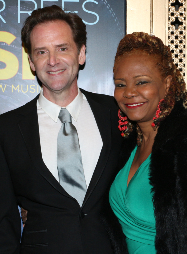 <p>Stage favorites Malcolm Gets and Tonya Pinkins pal around together before the show.</p><br />(© David Gordon)