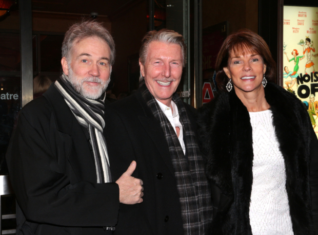 <p>Stage vets Boyd Gaines, Byron Jennings, and Carolyn McCormick walk the red carpet together.</p><br />(© David Gordon)