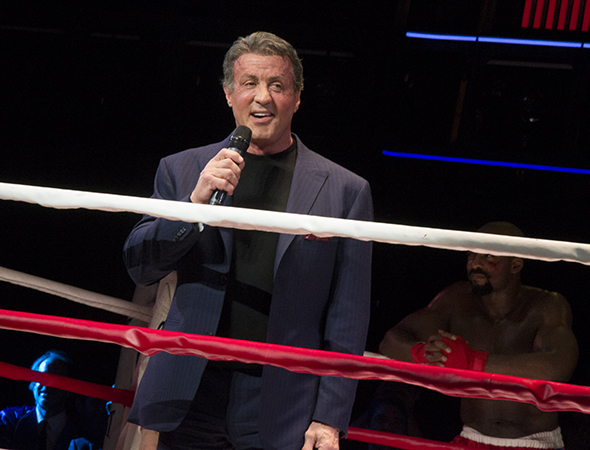 <p>Stallone sends the audience on their way.</p><br />(© David Gordon)
