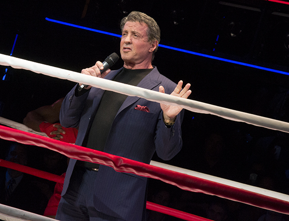 <p>Stallone, who cowrote the musical's book with Thomas Meehan, takes the stage to share some thoughts with the audience.</p><br />(© David Gordon)