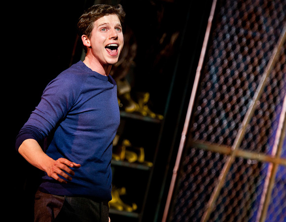 <p>Stark Sands plays Charlie Price in <em>Kinky Boots</em>. He&#39&#x3B;s very happy to be out of harm&#39&#x3B;s way. </p><br />(© Matthew Murphy)