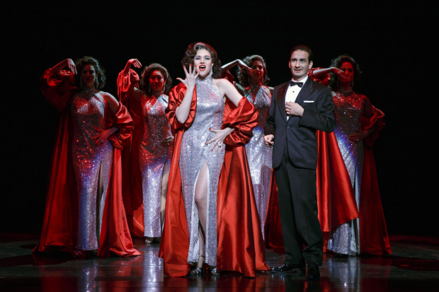 <p>Steffanie Leigh (center) dazzles in <em>War Paint</em>.</p><br />(© Joan Marcus)
