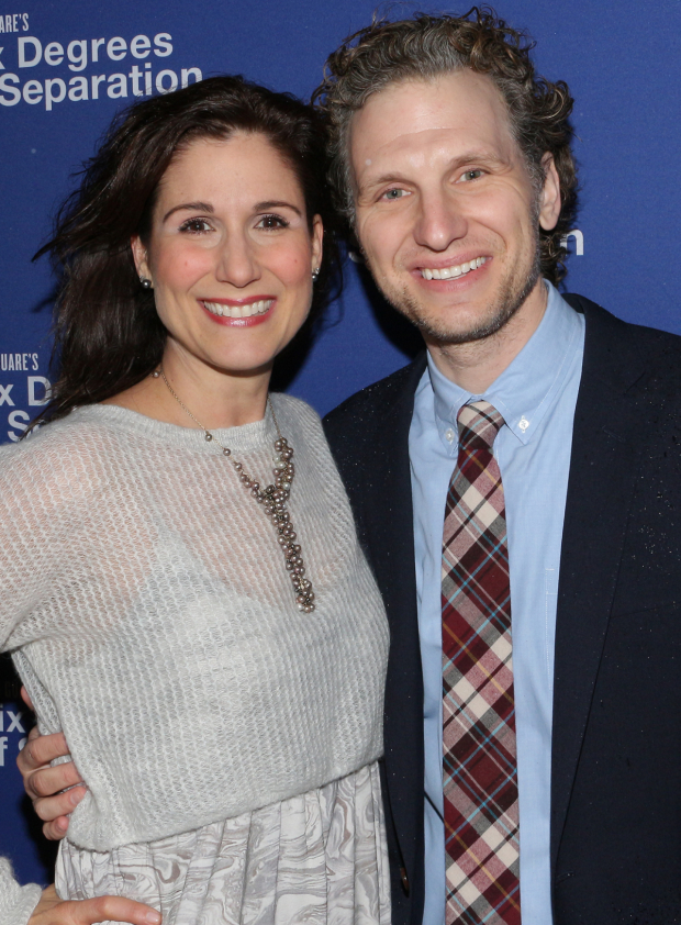 <p>Stephanie J. Block and husband Sebastian Arcelus stop for a photo on the way into the theater.</p><br />(© David Gordon)