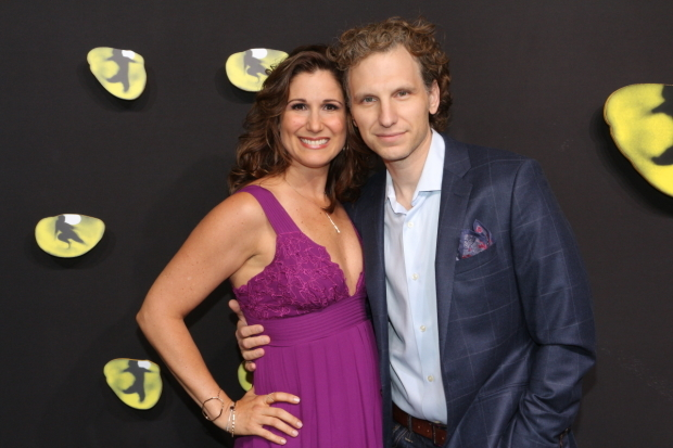<p>Stephanie J. Block and Sebastian Arcelus get close for the cameras.</p><br />(© David Gordon)