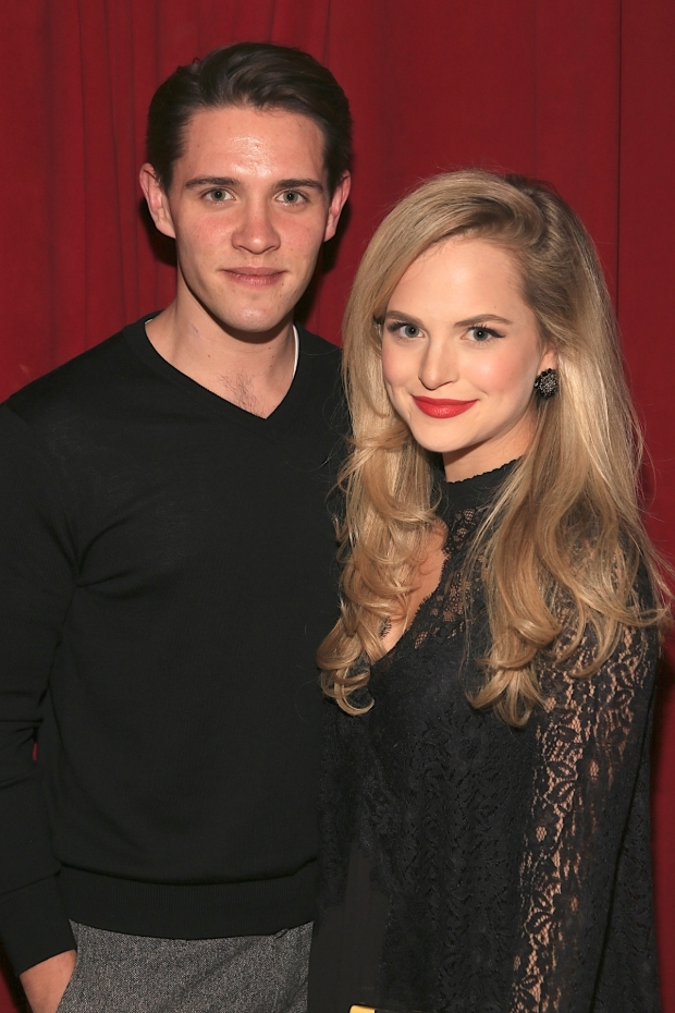 <p>Stephanie Styles celebrates her opening night with Casey Cott.</p><br />(© Tricia Baron)