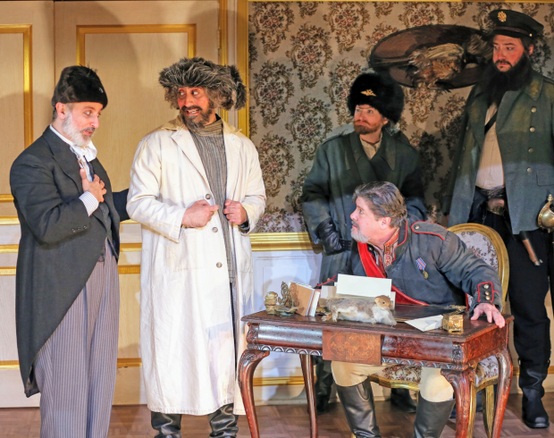 <p>Stephen DeRosa, James Rana, Kelly Hutchinson, Michael McGrath, and Luis Moreno in a scene from <em>The Government Inspector</em></p><br />(© Carol Rosegg)